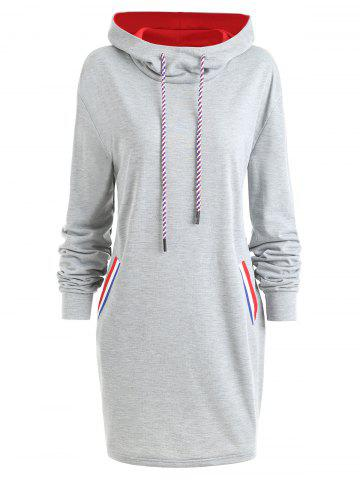 Affordable Drawstring Color Block Plus Size Longline Hoodie