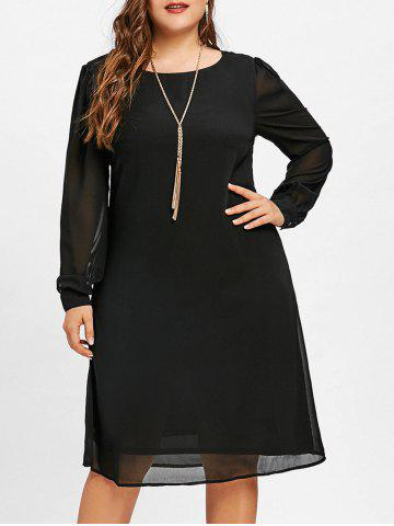 Latest Long Sleeve Chiffon Plus Size Tunic Dress