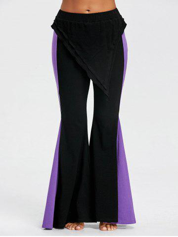 Color Block High Waist Skirted Flare Pants