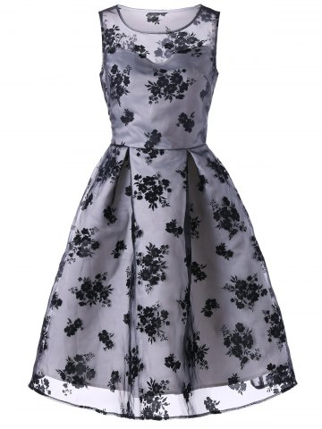 Tiny Floral Organza Fit and Flare Dress
