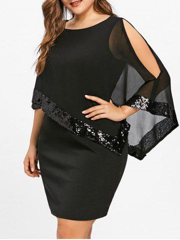 Fashion Plus Size Sequins Overlay Capelet Dress