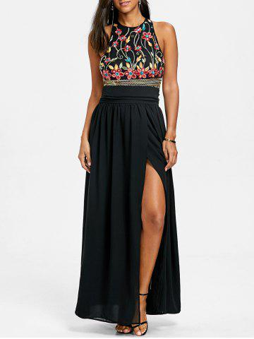 Trendy Embroidery Maxi Evening Dress
