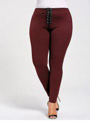 Skinny Plus Size Lace Up Leggings -