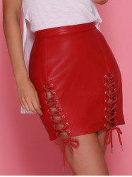 Lace Up Faux Leather Skirt -