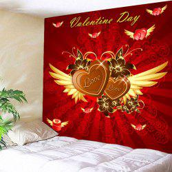 Valentine's Day Hearts with Wings Pattern Wall Tapestry -