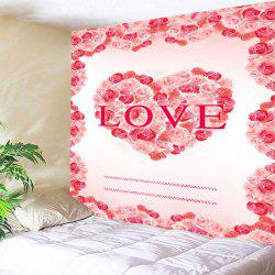 Valentine's Day Roses Heart Love Patterned Wall Tapestry -