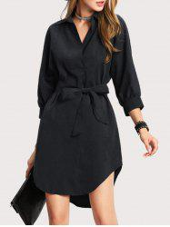 High Low Shirt Dress with Bowknot -