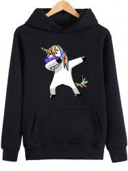 Cartoon Unicorn Print Kangaroo Pocket Hoodie -