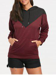 Color Block Drop Shoulder Kangaroo Pocket Hoodie -
