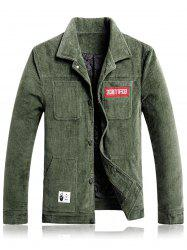 Pockets Appliques Corduroy Padded Jacket -