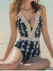 Plunging Neck Lace Printed Swimsuit -