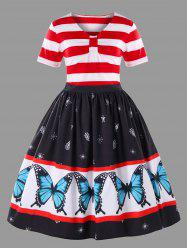 Plus Size Butterfly Pattern Ball Gown Dress -