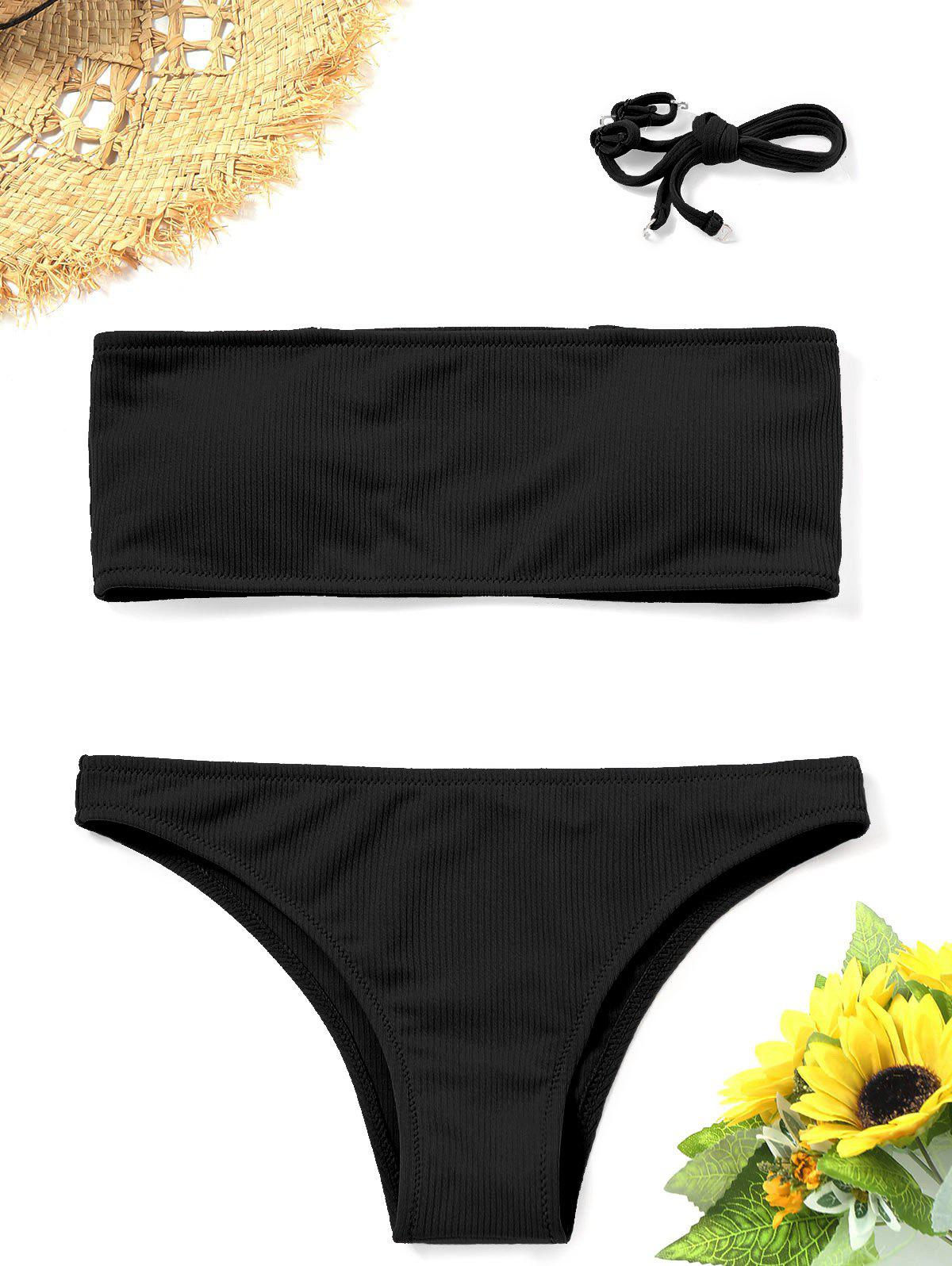 Trendy Bandeau Ribbed Bikini Set