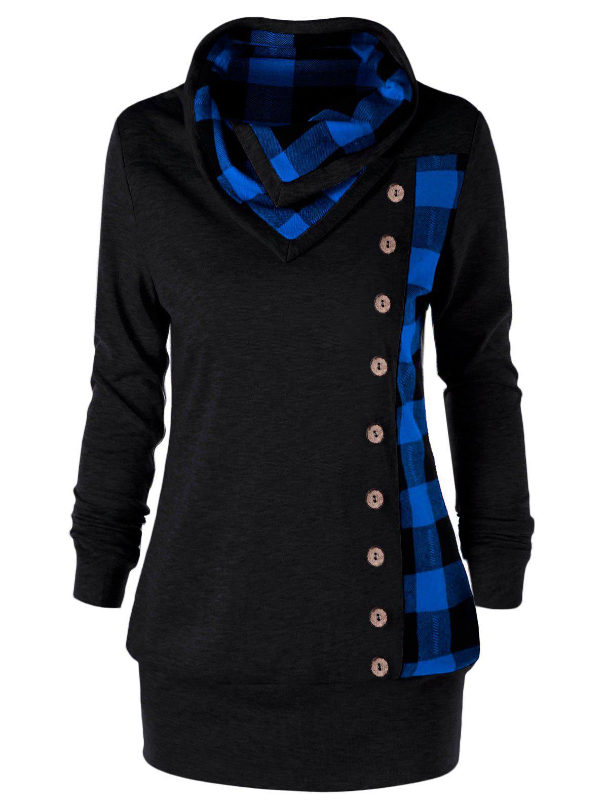 Shops Plus Size Cowl Neck Plaid Sweatshirt