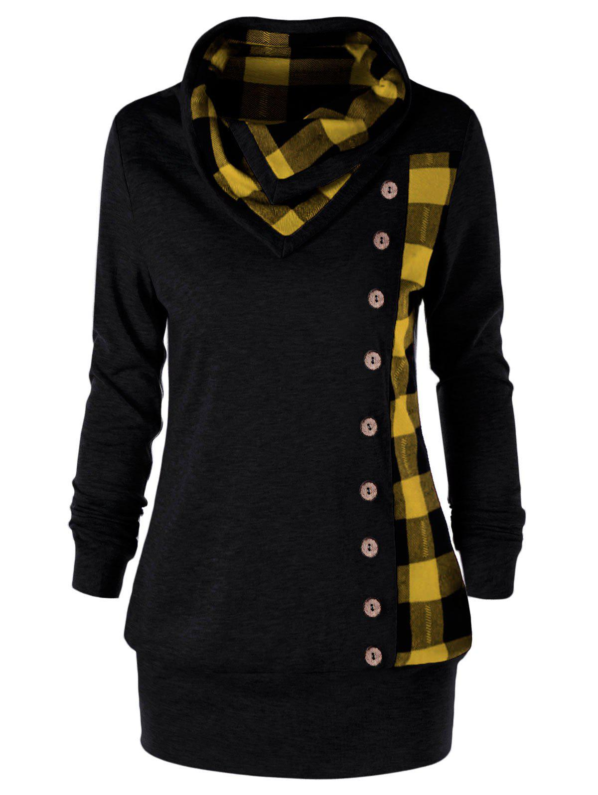 Latest Plus Size Cowl Neck Plaid Sweatshirt