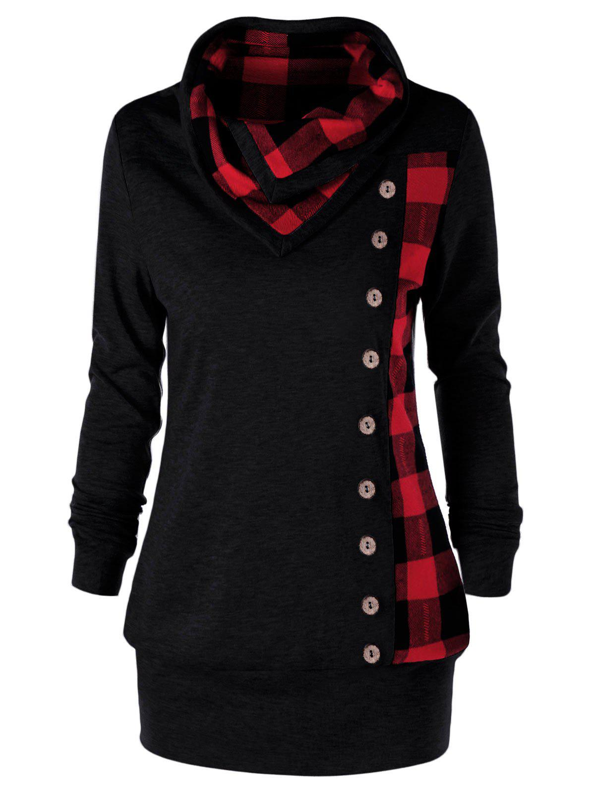 Plus Size Cowl Neck Plaid Sweatshirt