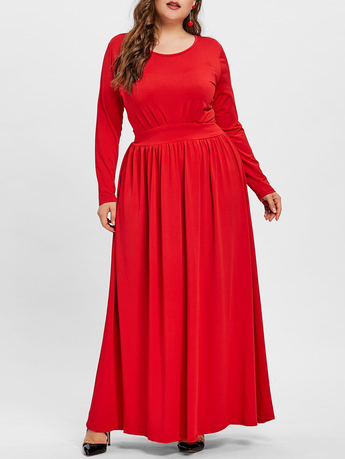 Chic Scoop Neck Plus Size Maxi Tunic Dress