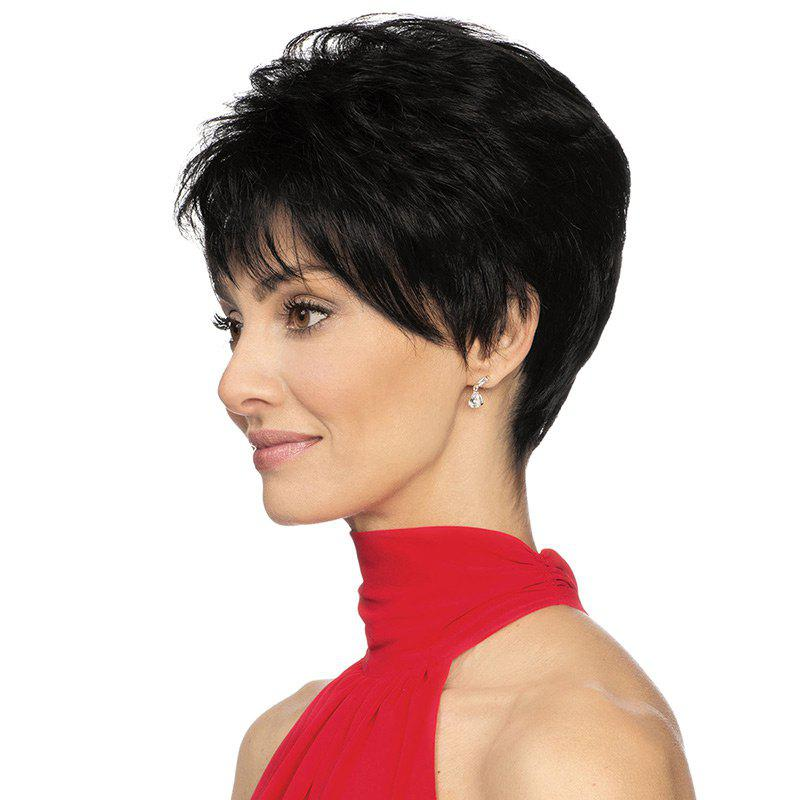 Unique Short Inclined Bang Fluffy Straight Human Hair Wig
