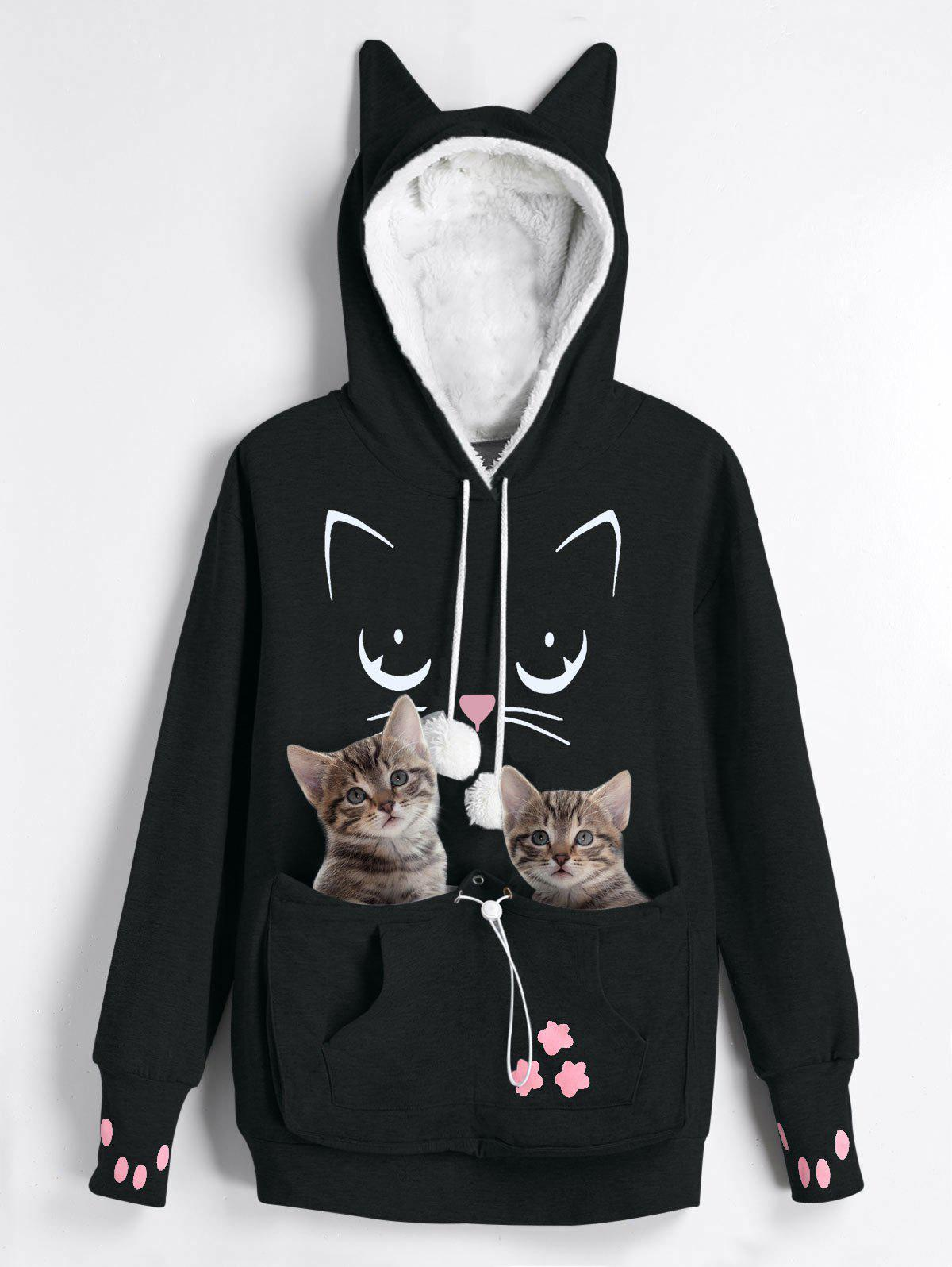 Outfits Plus Size Cat Holder Pouch Pocket Hoodie