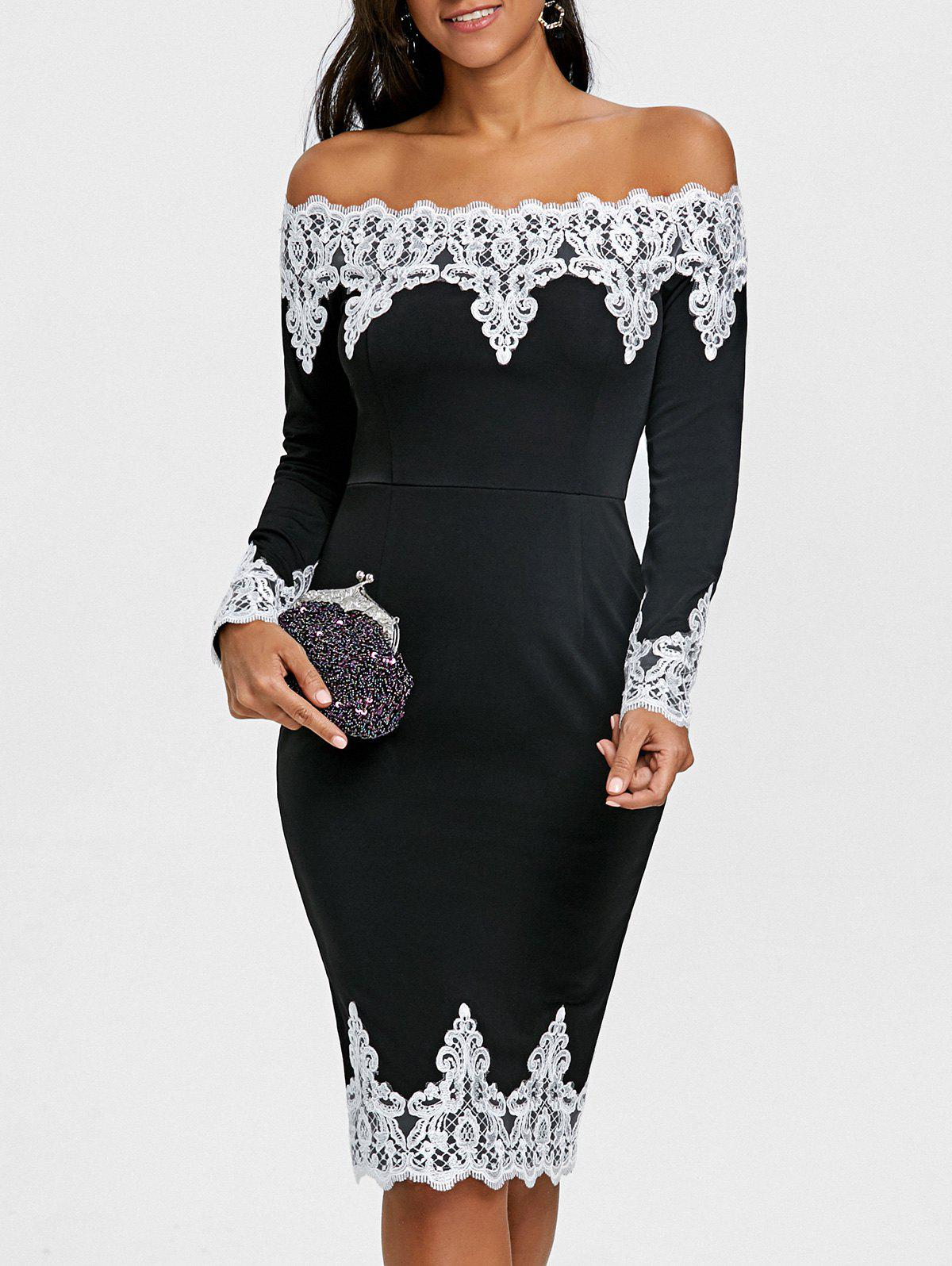 Shop Lace Trim Off The Shoulder Evening Dress