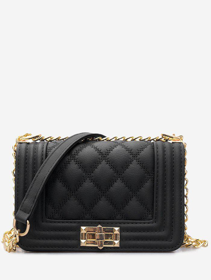2018 Faux Leather Twist Lock Quilted Crossbody Bag In Black