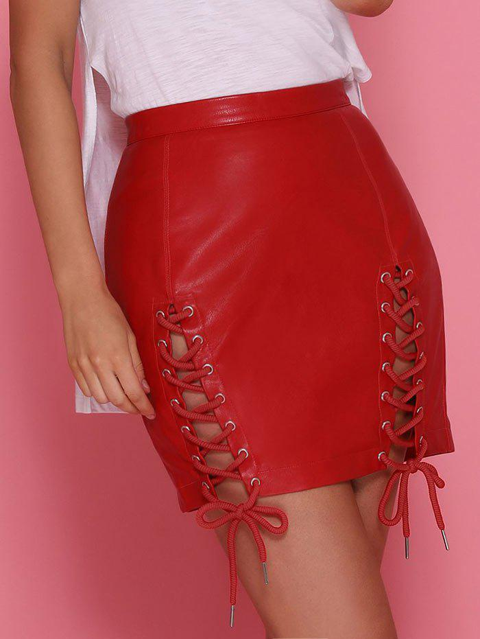 Fashion Lace Up Faux Leather Skirt