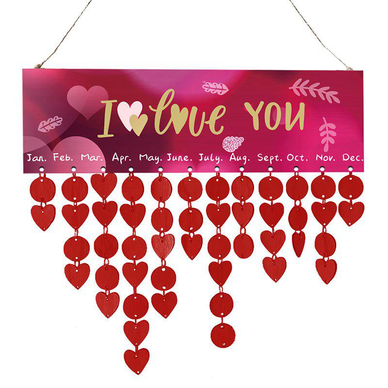 Hot Valentine's Day Letter Printed Wooden DIY Calendar Board