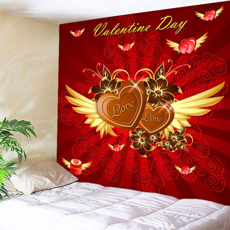 Online Valentine's Day Hearts with Wings Pattern Wall Tapestry