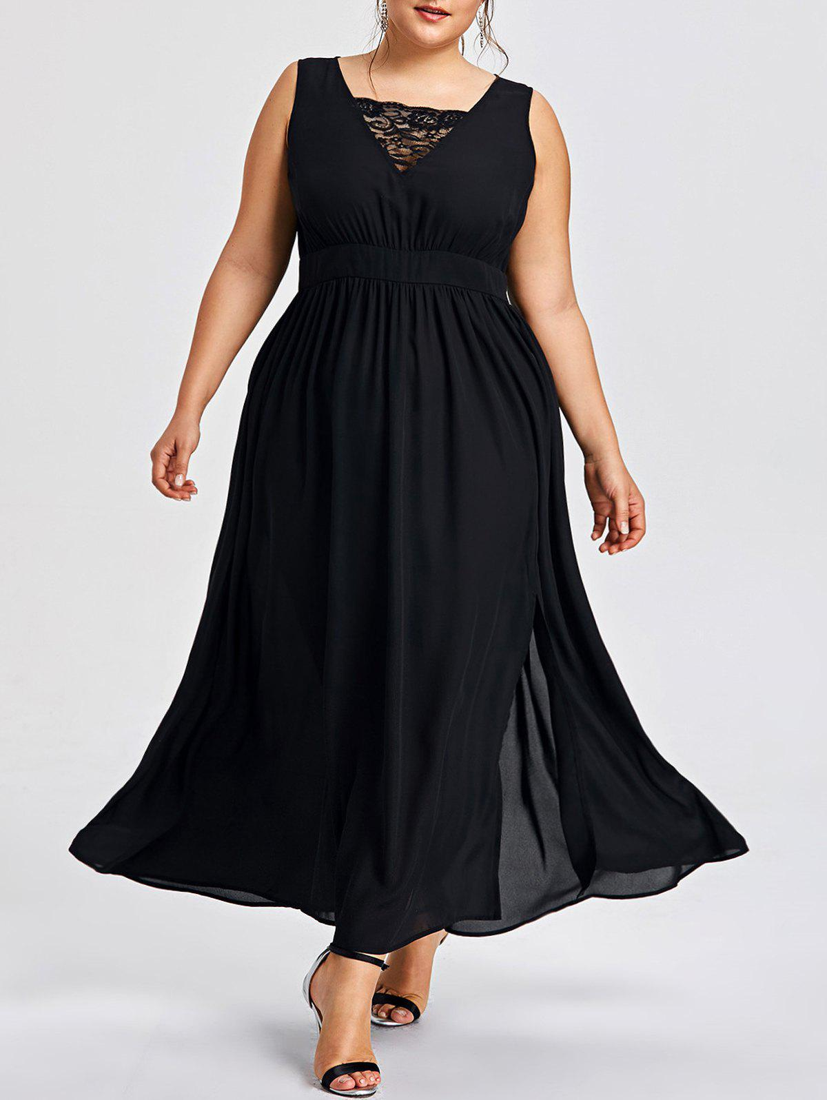 Fancy Plus Size Sleevelss High Split Dress