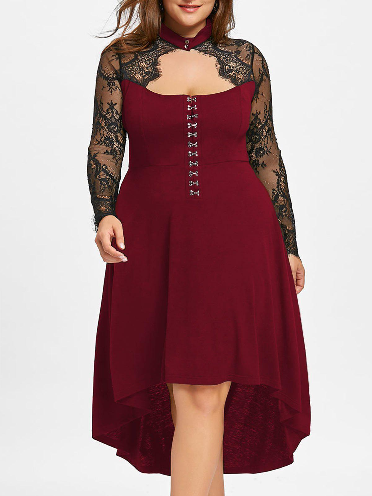 Outfit Plus Size Lace Up Keyhole Party Dress