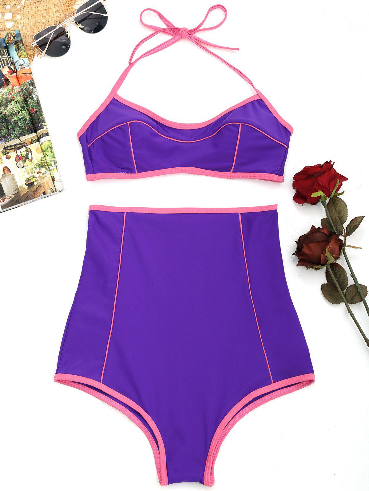 Trendy High Waisted Padded Halter Bikini Set