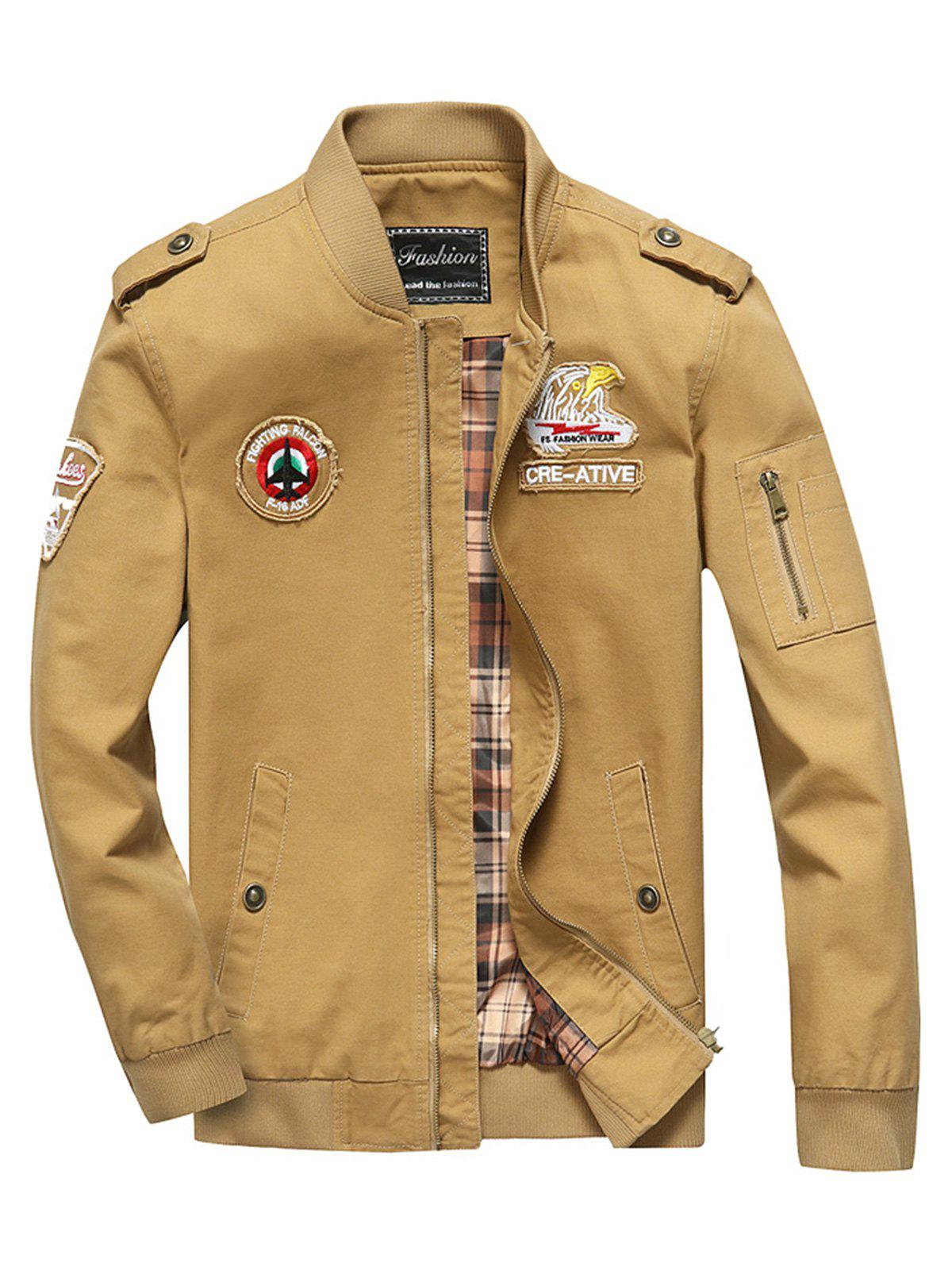 Outfits Appliques Epaulet Zip Up Bomber Jacket