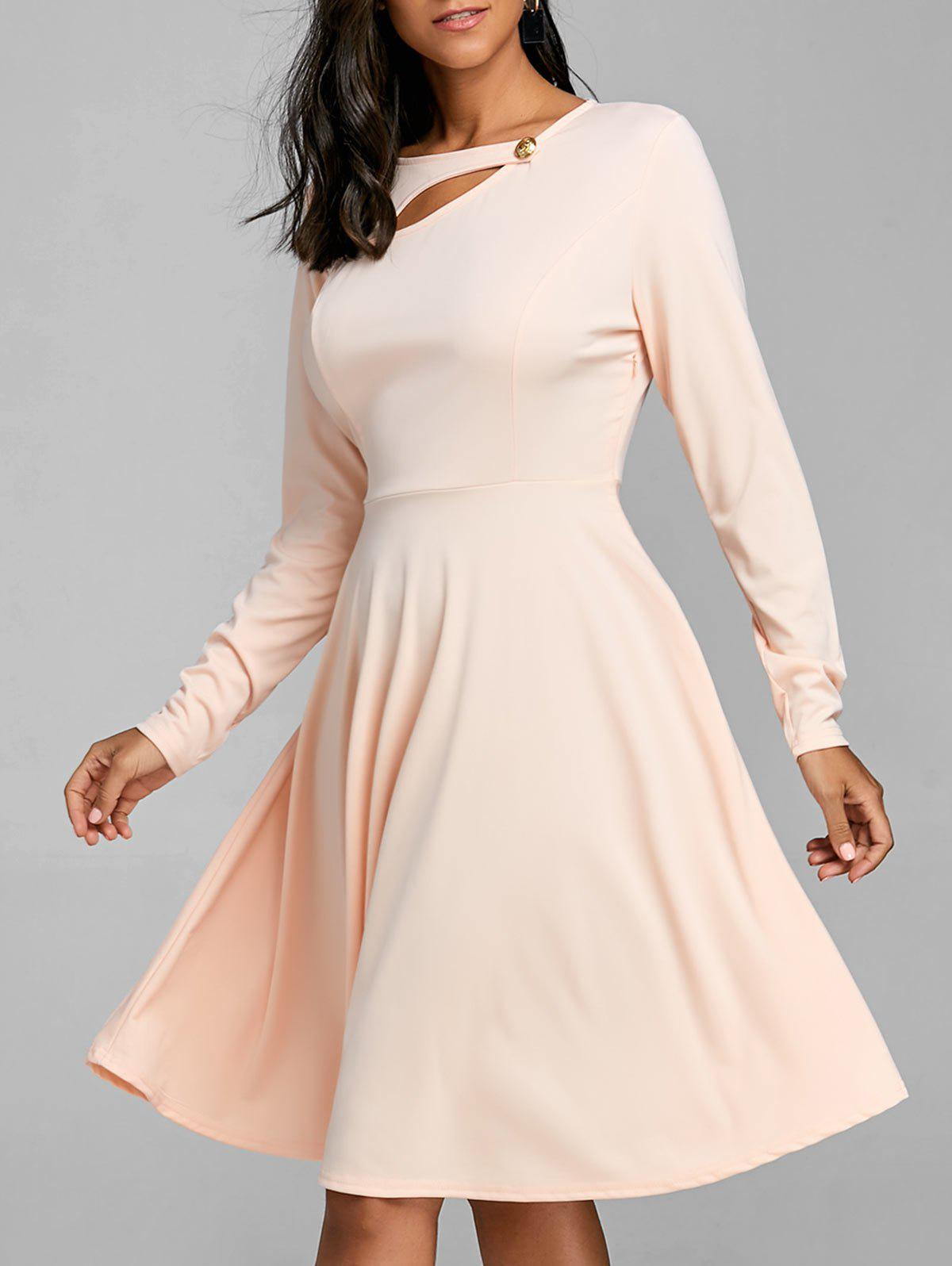 Cheap Long Sleeve Cut Out A Line Dress