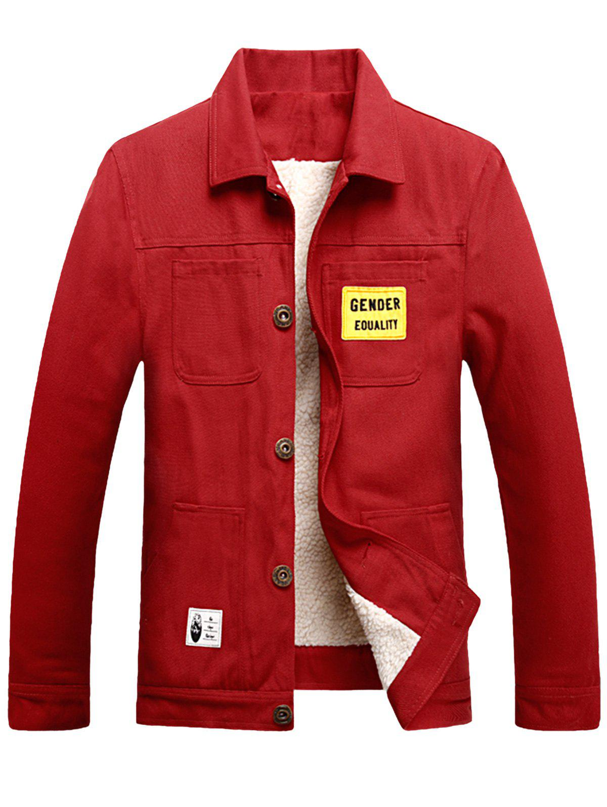 Online Multi Pockets Appliques Button Up Fleece Jacket