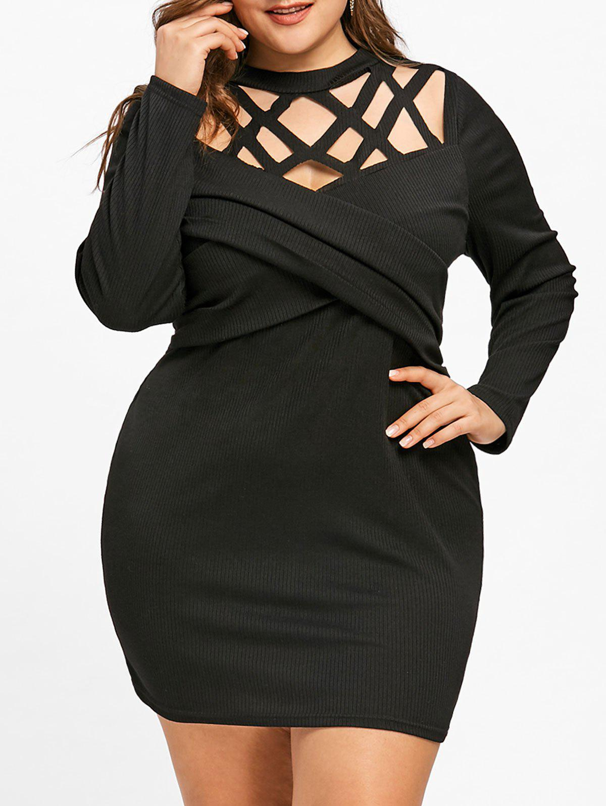 Fancy Plus Size Caged Cut Out Bodycon Dress