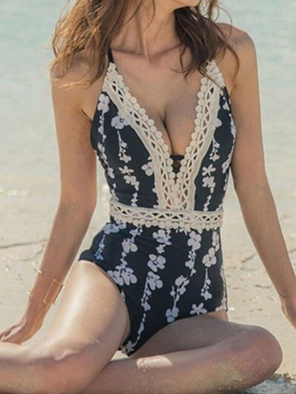 Outfit Plunging Neck Lace Printed Swimsuit