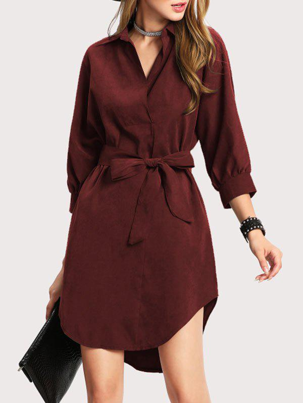 Discount High Low Shirt Dress with Bowknot