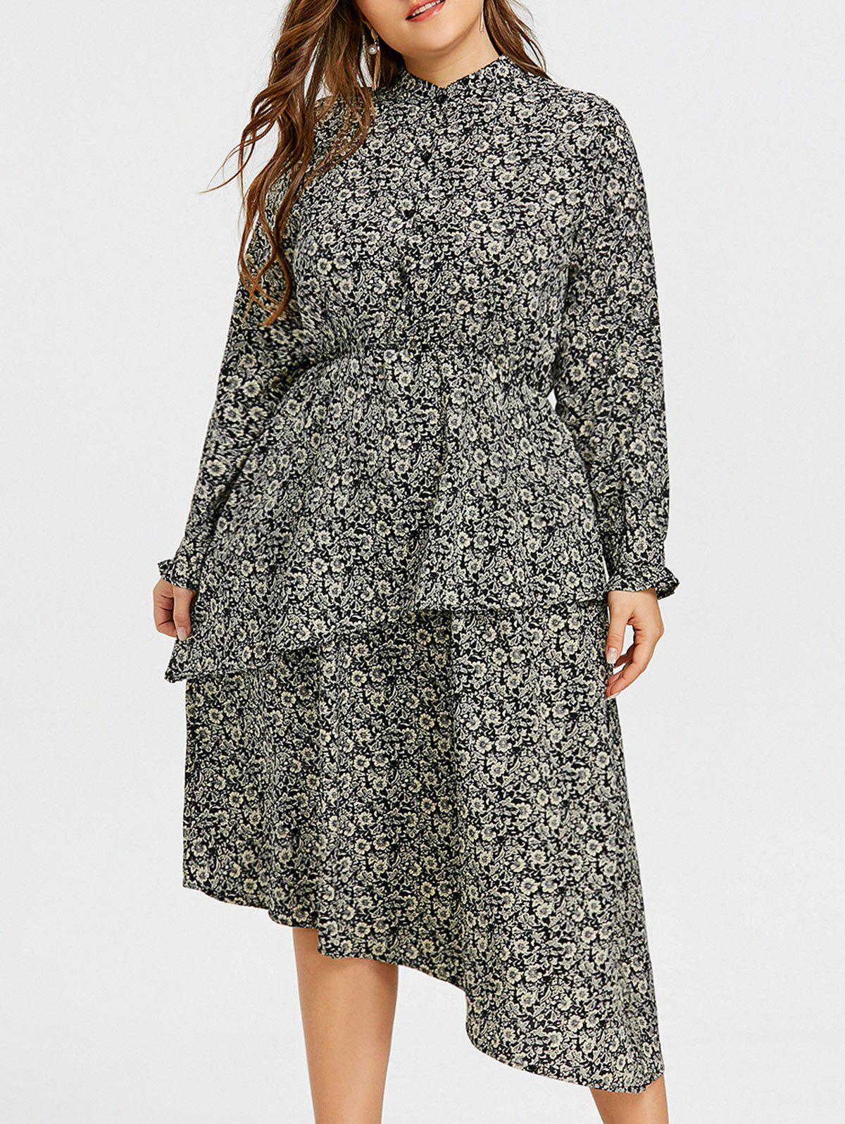 Affordable Floral Asymmetric Tiered Plus Size Ruffles Dress