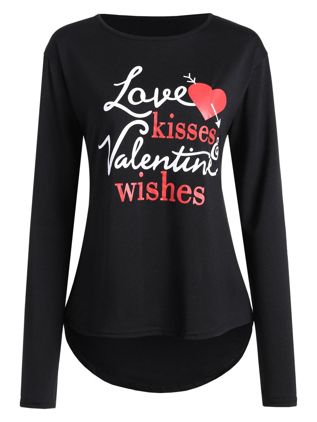 Chic Valentine Love Heart Print High Low T-shirt