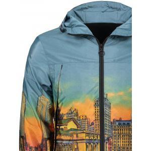 Ville de dessin animé Streetscape Print Zipper Up Windbreaker -
