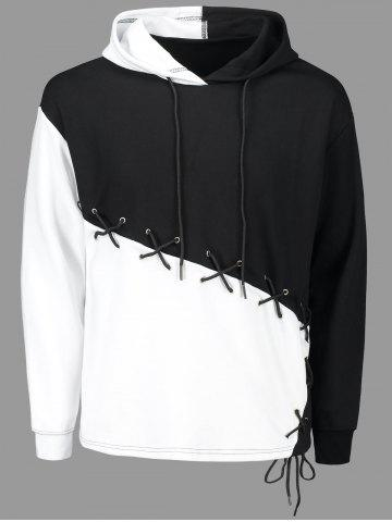 Unique Criss Cross Lace Up Color Block Hoodie