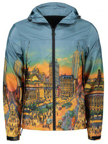 Ville de dessin animé Streetscape Print Zipper Up Windbreaker