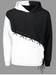 Criss Cross Lace Up Color Block Hoodie -