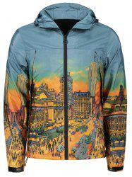 Cartoon City Streetscape Print Zipper Up Windbreaker -