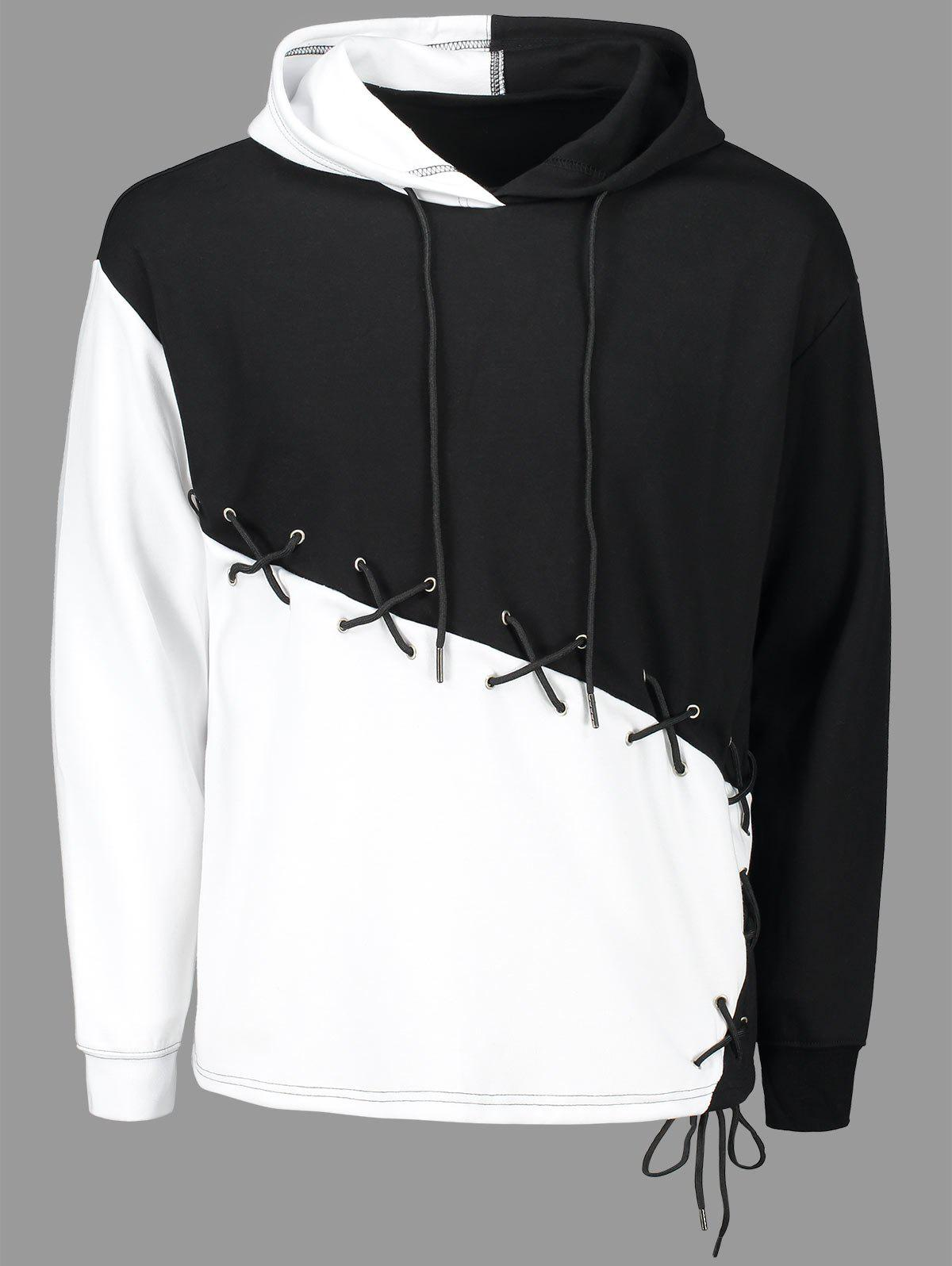 53 Off 2019 Criss Cross Lace Up Color Block Hoodie
