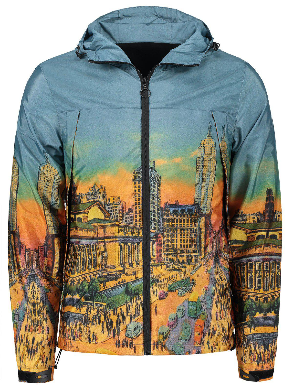 Affordable Cartoon City Streetscape Print Zipper Up Windbreaker