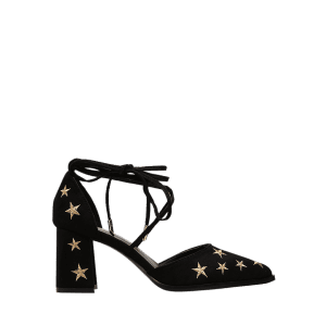 Stars Embroidery Mid Heel Ankle Strap Pumps -