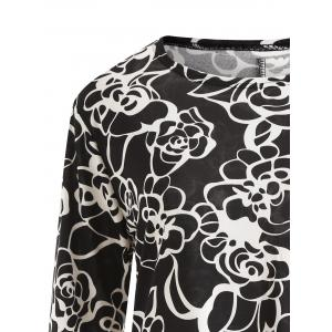 Floral Long Sleeve Plus Size Tunic Dress -