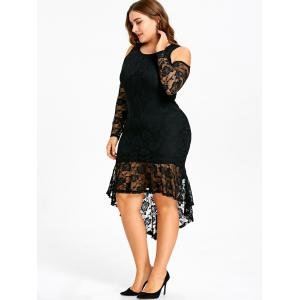 Plus Size Open Shoulder Lace High Low Dress -