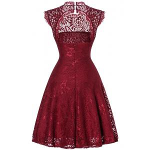 Open Back Lace Flare Cocktail Dress -